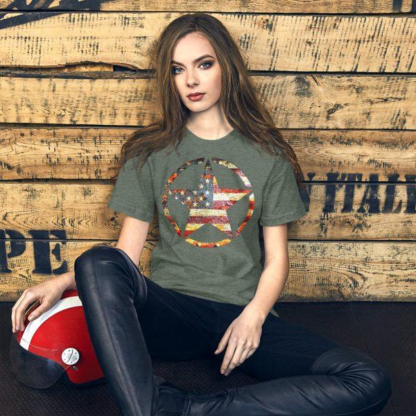 Heather Forrest Short-Sleeve Unisex T-Shirt Army Star on American Flag