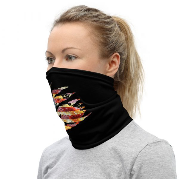 Small Torn American Flag Neck Gaiter Face Mask left viewt view