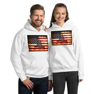 White Hoodie Gadsden & American Flag Composition