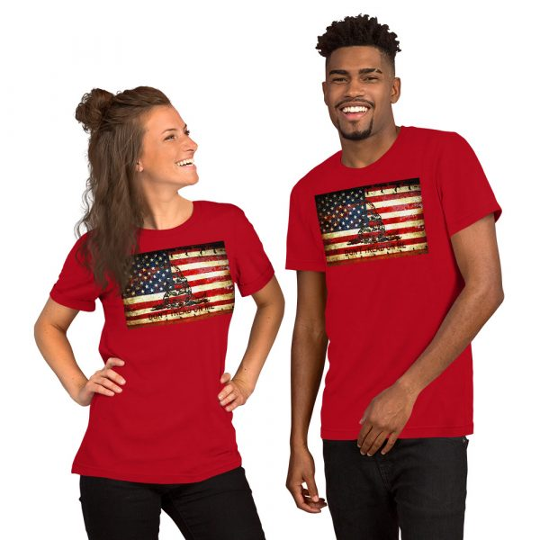 Red Unisex T-shirt with Don't Tread On Me – Gadsden & American Flag Composition print