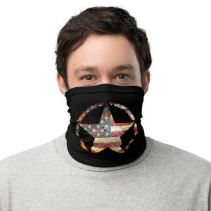 Small Army Star on American Flag Neck Gaiter Face Mask