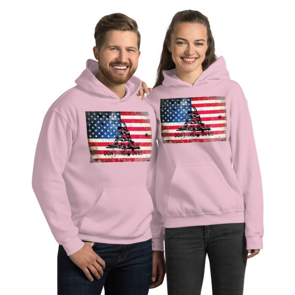 Pink Hoodie Don't Tread on me Bullet Hole on American Flag