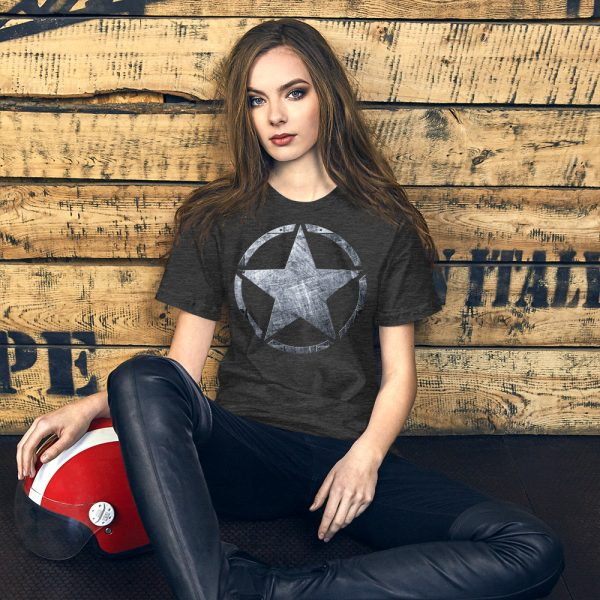 Short-Sleeve Unisex Dark Grey Heather T-Shirt Army Star on Riveted Steel
