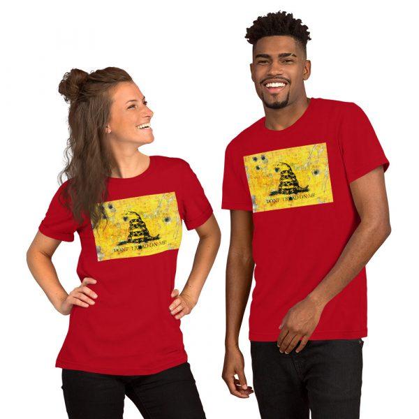 Red Unisex T-Shirt Gadsden Flag Bullet Holes