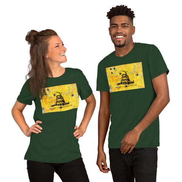 Dark Green Unisex T-Shirt Gadsden Flag Bullet Holes