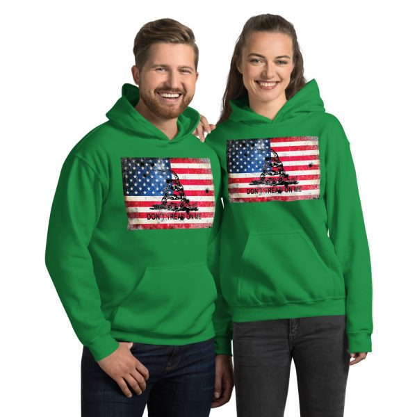 Green Hoodie Don't Tread on me Bullet Hole on American Flag