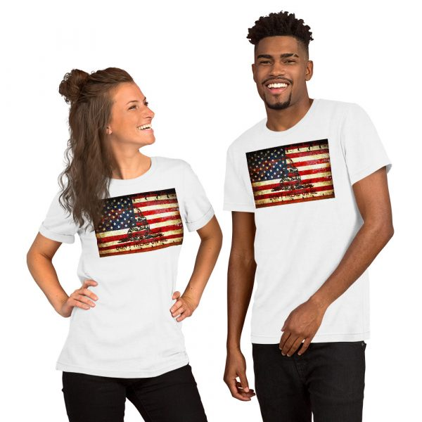 White Unisex T-shirt with Don't Tread On Me – Gadsden & American Flag Composition print