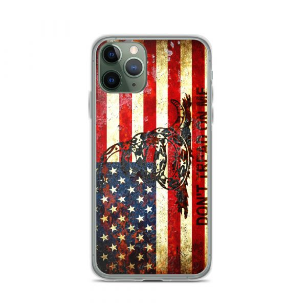 Don't Tread On Me – Gadsden & American Flag Composition on iPhone 11 Pro case