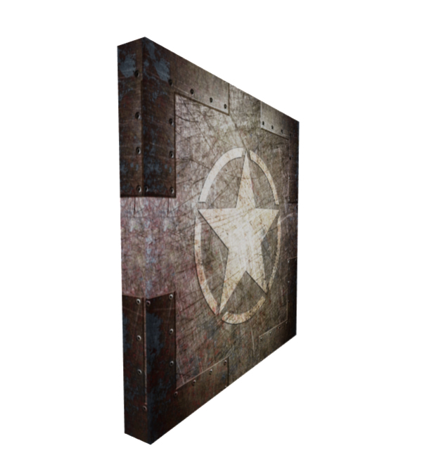 Stretched Canvas Army Star on Riveted Steel 16x16 Inches side view