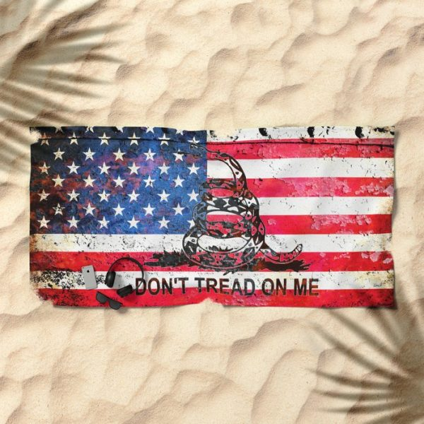 Beach Bathroom Towel American and Gadsden Flag Combo - Don't Tread on Me on the beach