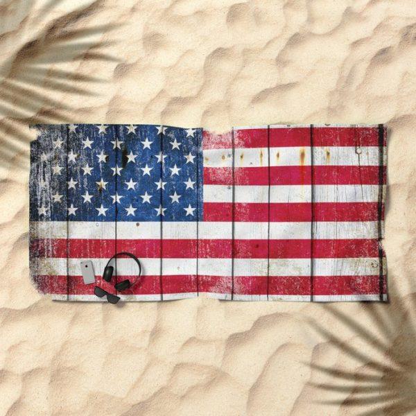 Beach Bathroom Towel Distressed American Flag on Old Barn Wood on sand