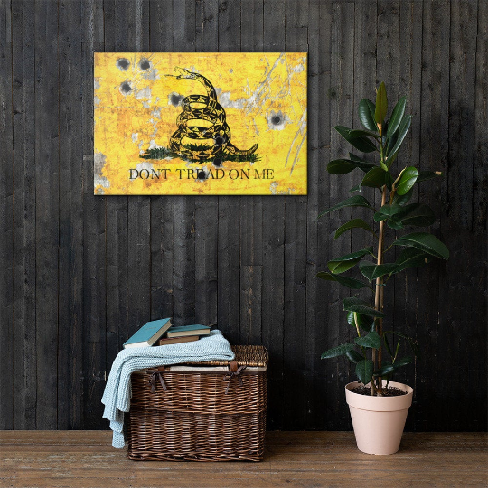 Gadsden Flag on Distressed Metal with Bullet Hole Stretched Canvas hung on wood - Don't tread on Me Art Print