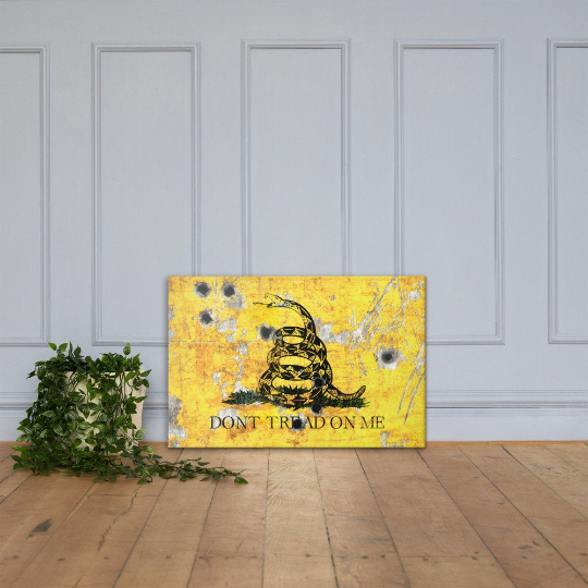 Gadsden Flag on Distressed Metal with Bullet Hole Stretched Canvas on floor - Don't tread on Me Art Print