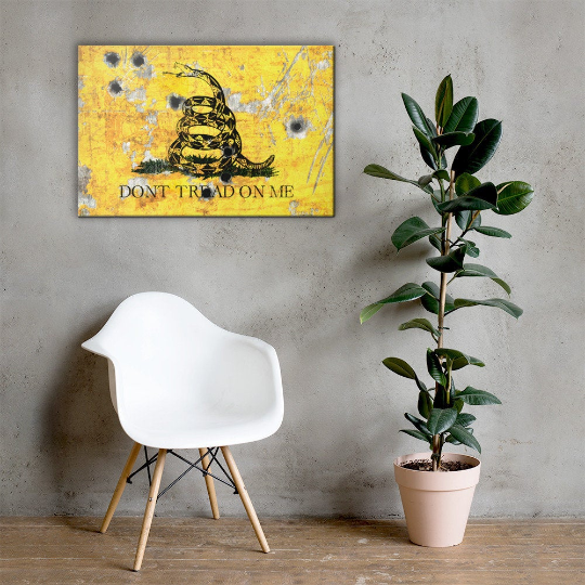 Gadsden Flag on Distressed Metal with Bullet Hole Stretched Canvas Hung - Don't tread on Me Art Print