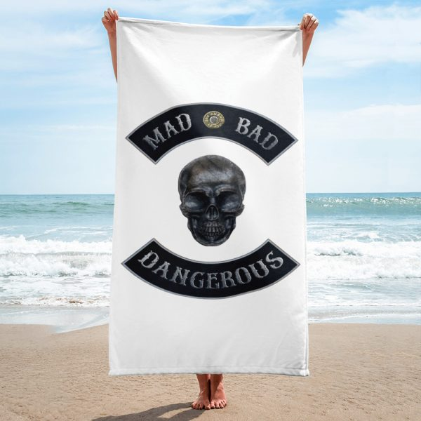 Beach and Bathroom Towel Mad Bad and Dangerous with Skull