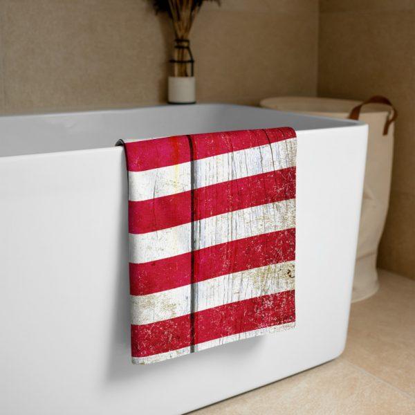 Folded Beach Bathroom Towel Distressed American Flag on Old Barn Wood