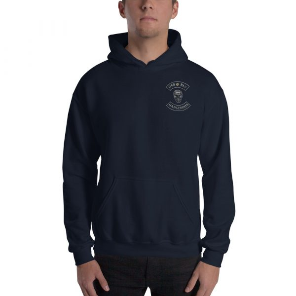 Navy Unisex Hoodie Mad, Bad and Dangerous Rockers with Skull Front