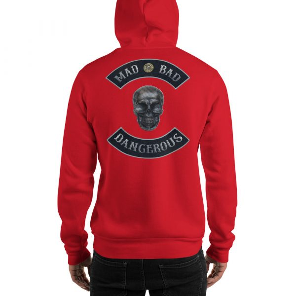 Red Unisex Hoodie Mad, Bad and Dangerous Rockers with Skull
