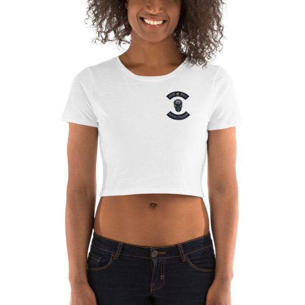 White Women's Crop Tee Mad, Bad and Dangerous Rockers with Skull Front