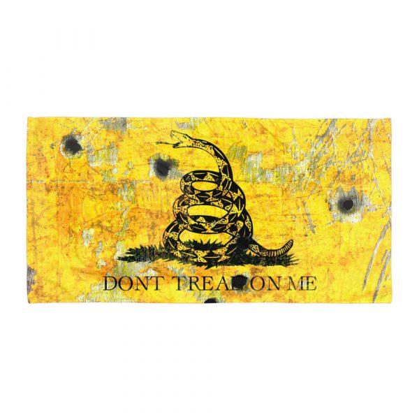 Beach Bathroom Towel Gadsden Flag with Bullet Holes - Don't Tread on Me