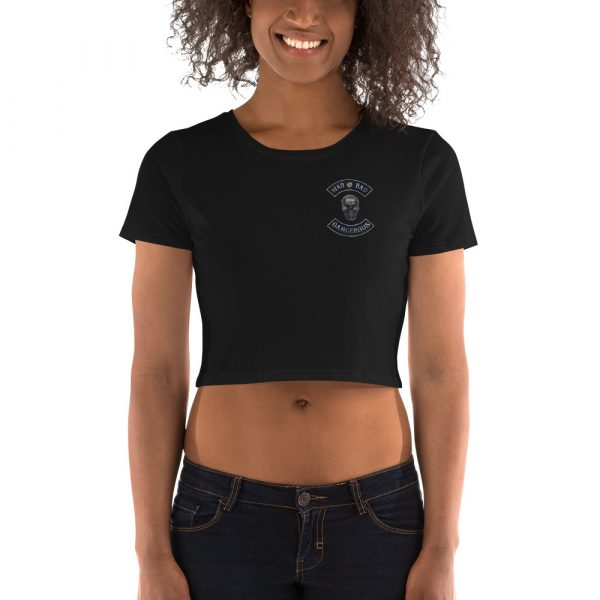 Black Women's Crop Tee Mad, Bad and Dangerous Rockers with Skull Front