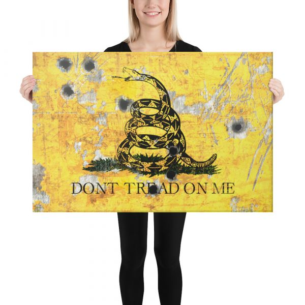 Stretched Canvas - Gadsden Flag on Distressed Metal with Bullet Hole - Don't tread on Me