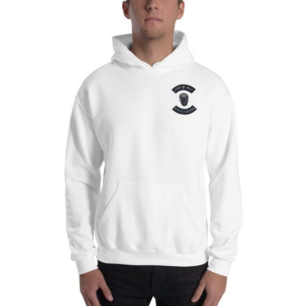 White Unisex Hoodie Mad, Bad and Dangerous Rockers with Skull Front