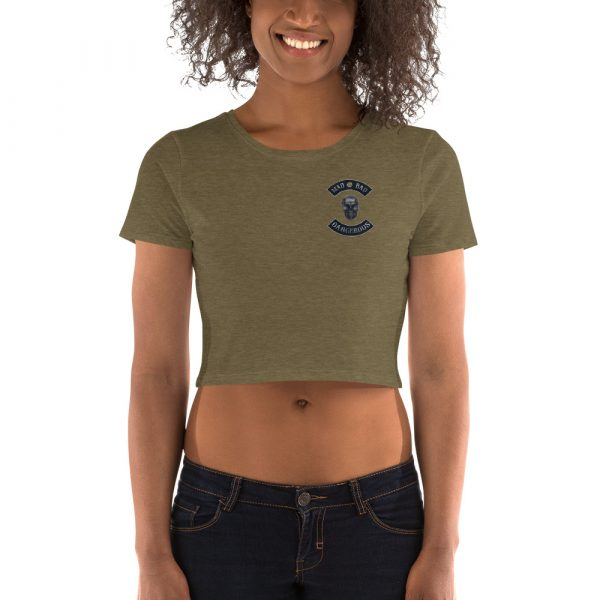 Olive Women's Crop Tee Mad, Bad and Dangerous Rockers with Skull Front