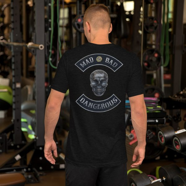 Mad, Bad and Dangerous Rockers with Skull Unisex Black Heather T-shirt Back