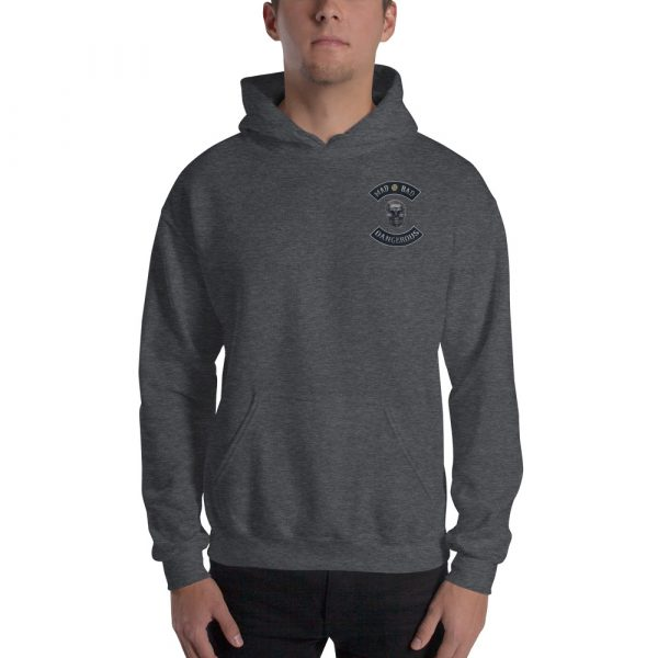 Heather Grey Unisex Hoodie Mad, Bad and Dangerous Rockers with Skull Front