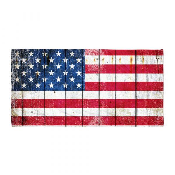 Beach Bathroom Towel Distressed American Flag on Old Barn Wood