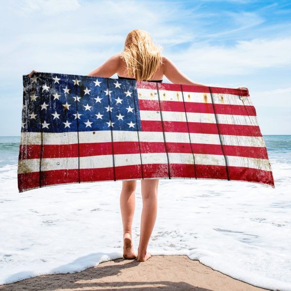 Model with our Beach Bathroom Towel Distressed American Flag on Old Barn Wood