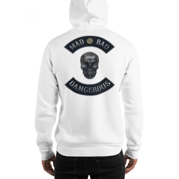 White Unisex Hoodie Mad, Bad and Dangerous Rockers with Skull Back