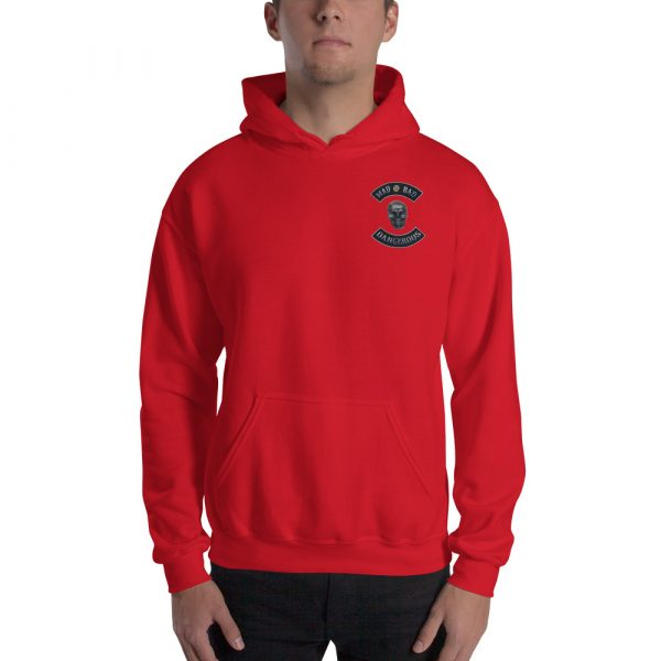 Red Unisex Hoodie Mad, Bad and Dangerous Rockers with Skull Front