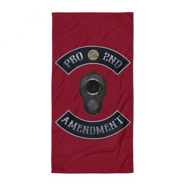 Pro 2nd Amendment with M1911 Muzzle Beach and Bathroom Towel held by model