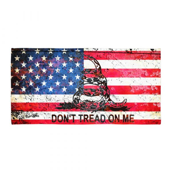 Beach Bathroom Towel American and Gadsden Flag Combo - Don't Tread on Me