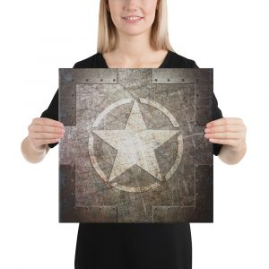 Stretched Canvas Army Star on Riveted Steel 16x16 Inches