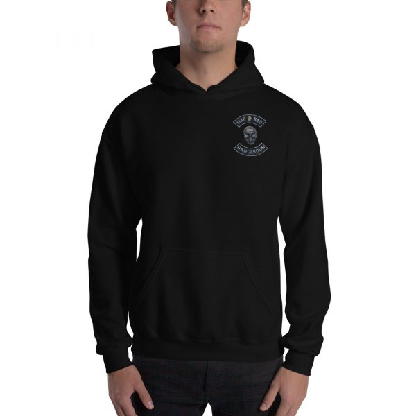 Black Unisex Hoodie Mad, Bad and Dangerous Rockers with Skull Front