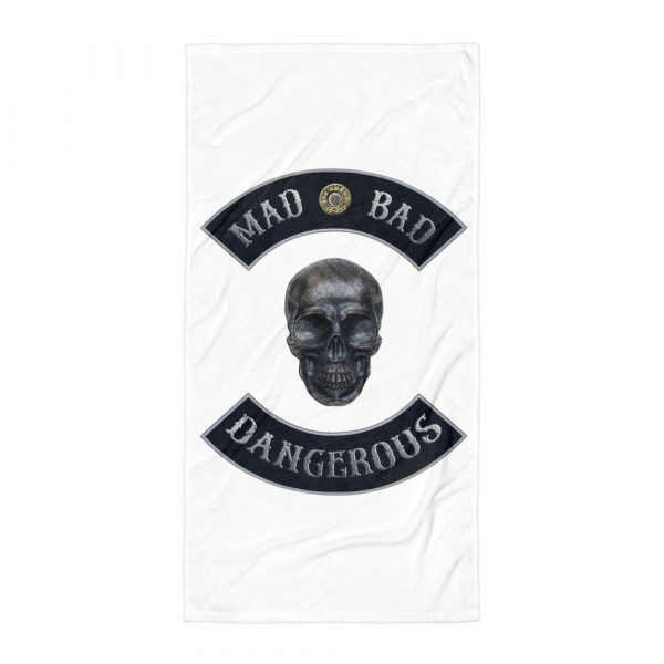 Beach and Bathroom Towel Mad Bad and Dangerous with Skull laying flat