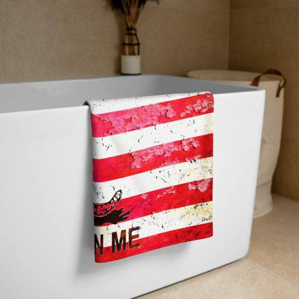 Beach Bathroom Towel American and Gadsden Flag Combo - Don't Tread on Me folded on bathtub