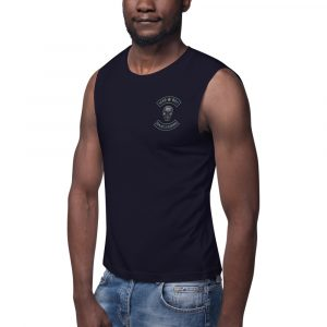 Mad, Bad and Dangerous Rockers with Skull Navy Muscle Shirt Front