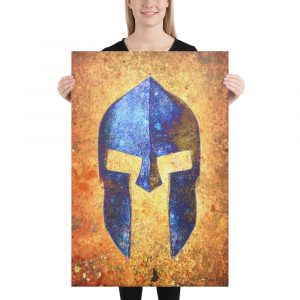 Blue Spartan Helmet on Distressed Rusted Background Stretched Canvas 24x36