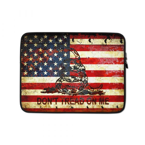 Rusted American and Gadsden Flag 15 inches Laptop Sleeve - Don't tread on Me