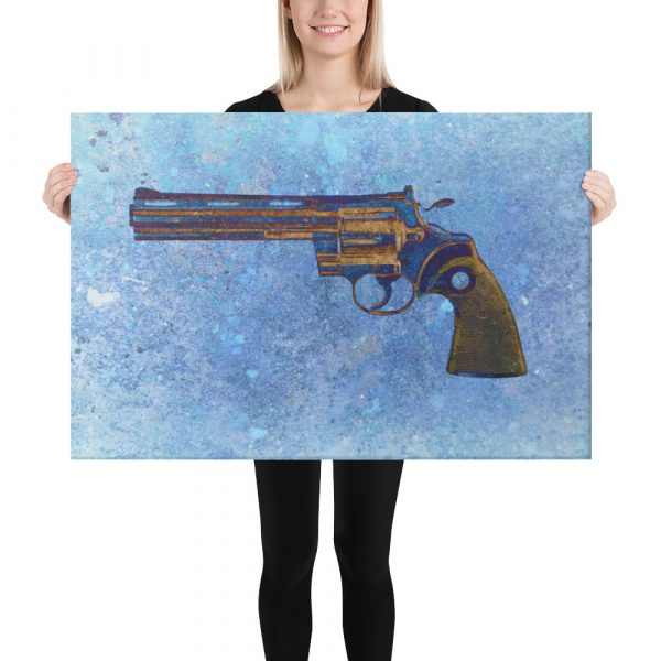 Colt Python 357 Magnum 6 inches Barrel on Blue Background Stretched Canvas 24x36