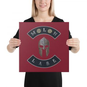 Spartan Helmet Molon Labe double 45ACP - Stretched Canvas 16 x 16