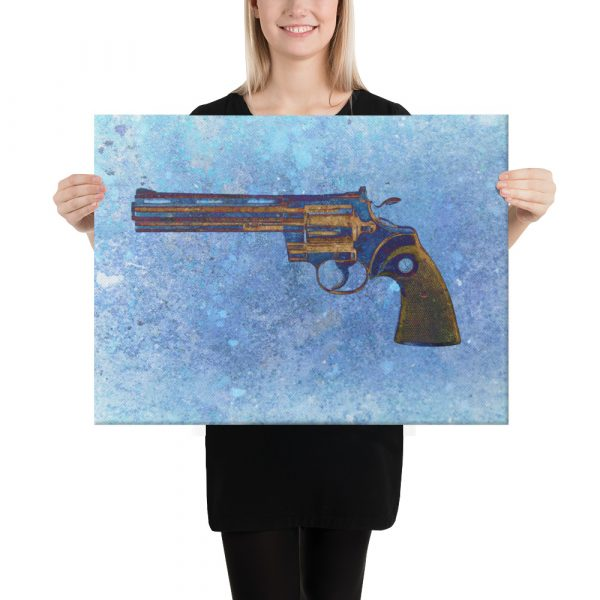 Colt Python 357 Magnum 6 inches Barrel on Blue Background Stretched Canvas 16x20
