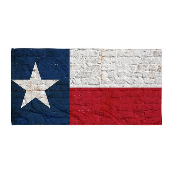 Beach and Bathroom Towel Texas Flag on Brick Wall flat