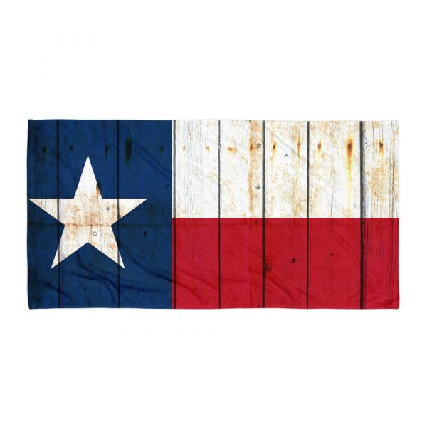 Beach and Bathroom Towel Texas Flag on Old Barn Wood flat