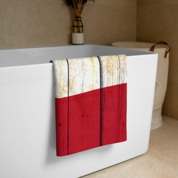 Beach and Bathroom Towel Texas Flag on Old Barn Wood folded on tub