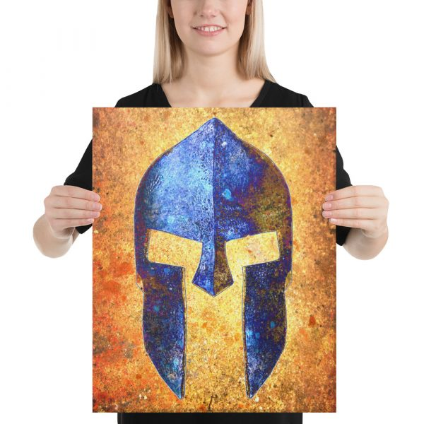 Blue Spartan Helmet on Distressed Rusted Background Stretched Canvas 16X20